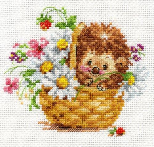Набор для вышивания крестом Алиса Ежик в ромашках, 13 х 11 см694796