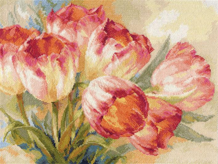 Набор для вышивания крестом Тюльпаны, 40 х 30 см694804