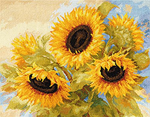 Набор для вышивания крестом Солнечные цветы, 40 х 30 см697868Набор для вышивания крестом Солнечные цветы поможет создать красивую вышитую картину. Рисунок-вышивка, выполненный на канве, выглядит стильно и модно. Вышивание отвлечет вас от повседневных забот и превратится в увлекательное занятие! Работа, сделанная своими руками, не только украсит интерьер дома, придав ему уют и оригинальность, но и будет отличным подарком для друзей и близких! Набор для вышивания содержит все необходимые материалы для вышивки на канве в технике счетный крест. В состав набора входит: - канва Аида Gamma белого цвета (100% хлопок), - мулине Gamma (32 цвета), - игла, - символьная схема, - подробная инструкция на русском языке.
