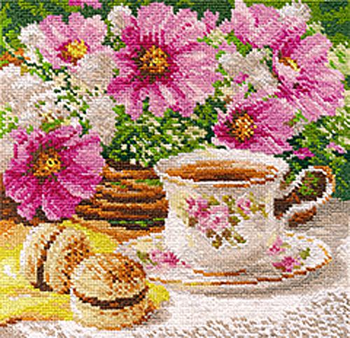 Набор для вышивания крестом Утренний чай, 18 x 18 см697870