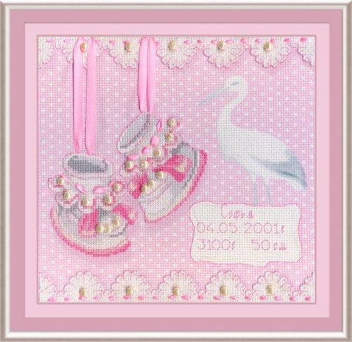 Набор для вышивания крестом М.П.Студия На рождение девочки, 20 х 20 см РК-315699187