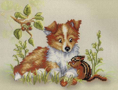 Набор для вышивания крестом Собака с бурундуком, 20 х 25 см РК-327699398