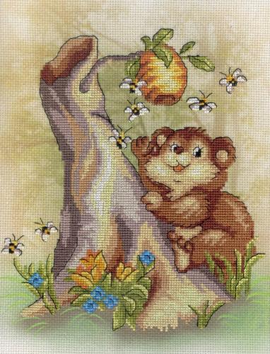 Набор для вышивания крестом Мишка, 20 см х 25 см. РК-326699404