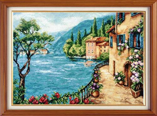 Набор для вышивания крестом Средиземноморский пейзаж, 42 см х 31 см. 3297704953