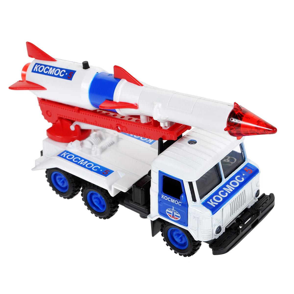 ТехноПарк Машинка инерционная ГАЗ 66 с ракетой КосмосCT-1299-R-1Машинка ТехноПарк ГАЗ 66 с ракетой Космос, выполненная из пластика и металла, станет любимой игрушкой вашего малыша. Игрушка представляет собой машину ГАЗ 66, оснащенный подвижной установкой с пусковой ракетой Космос и открывающимися дверьми. При нажатии кнопки на пушке кончик ракеты начинает светиться, при этом слышны звуки стрельбы. Игрушка оснащена инерционным ходом. Машинку необходимо отвести назад, отпустить - и ГАЗ 66 быстро поедет вперед. Ваш ребенок будет часами играть с этой машинкой, придумывая различные истории. Порадуйте его таким замечательным подарком! Машинка работает от 3 батареек LR41 напряжением 1,5V (товар комплектуется демонстрационными).