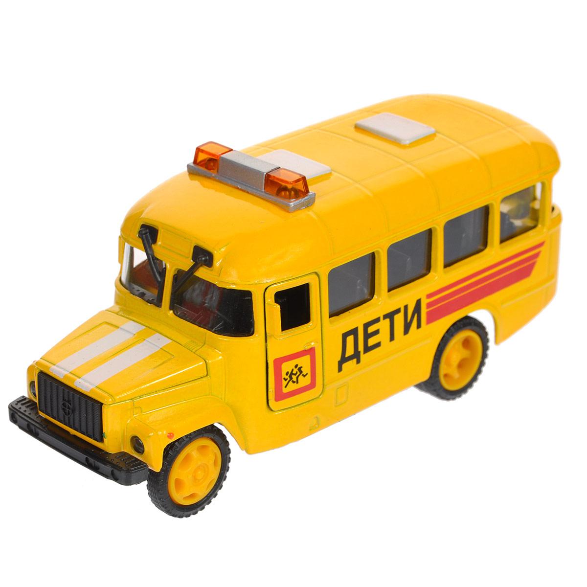 ТехноПарк Машинка инерционная КАвЗ ДетиCT10-069-5Машинка ТехноПарк КАвЗ Дети, выполненная из пластика и металла, станет любимой игрушкой вашего малыша. Игрушка представляет собой машину КАвЗ Дети, оснащенную открывающимися дверьми и капотом. При нажатии на заднюю часть игрушки фары и мигалка на крыше начинают светиться под звуки, характерные ситуации. Игрушка оснащена инерционным ходом. Машинку необходимо отвести назад, слегка надавив на крышу, затем отпустить - и она быстро поедет вперед. Прорезиненные колеса обеспечивают надежное сцепление с любой поверхностью пола. Ваш ребенок будет часами играть с этой машинкой, придумывая различные истории. Порадуйте его таким замечательным подарком! Машинка работает от батареек (товар комплектуется демонстрационными).