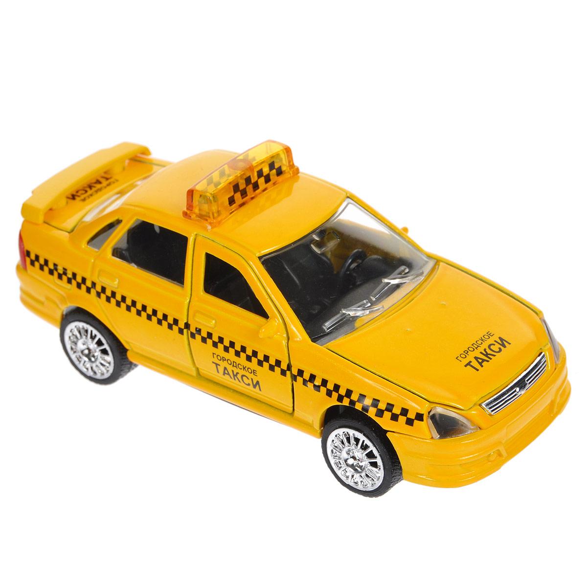 ТехноПарк Машинка инерционная Лада-Приора ТаксиCT12-440-5Машинка ТехноПарк Лада-Приора Такси, выполненная из пластика и металла, станет любимой игрушкой вашего малыша. Игрушка представляет собой машину такси, оснащенную открывающимися дверьми и капотом. При нажатии на переднюю часть игрушки шашки на крыше начинают светиться под звуки, характерные ситуации. Игрушка оснащена инерционным ходом. Машинку необходимо отвести назад, слегка надавив на крышу, затем отпустить - и такси быстро поедет вперед. Прорезиненные колеса обеспечивают надежное сцепление с любой поверхностью пола. Ваш ребенок будет часами играть с этой машинкой, придумывая различные истории. Порадуйте его таким замечательным подарком! Машинка работает от батареек (товар комплектуется демонстрационными).