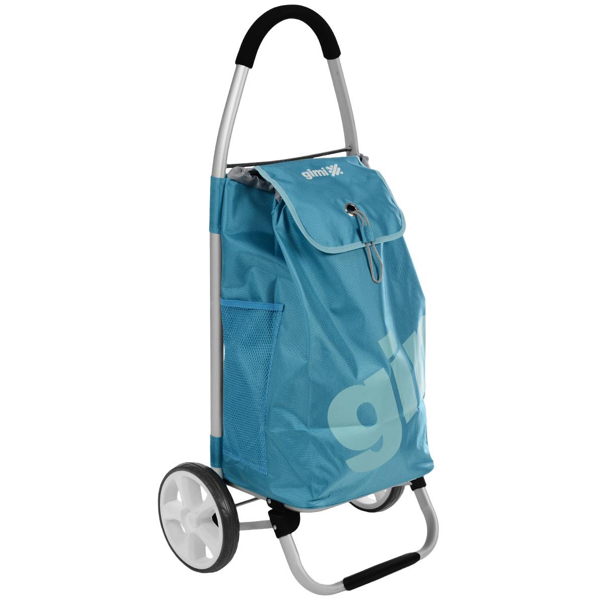 Сумка-тележка Gimi Galaxy, цвет: голубой150254500Сумка-тележка Gimi Galaxy это очень мощная сумка-тележка для самых непроходимых дорог и любой непогоды. Легкий каркас из алюминия с надежной подножкой и дополнительными перемычками на основании для повышенной прочности, тщательно изготовленные детали из высокопрочного полимера. Колеса облегченные, со скользящей втулкой для лучшего вращения. Покрытие колес изготовлено из севилена – износостойкого и морозоустойчивого материала. Широкая горловина сумки затягивается на кулиску и накрывается клапаном с оригинальной застежкой. Внутри сумки – вставное пластиковое дно для жесткости и придания формы, по бокам два глубоких кармана из сетки, сзади дополнительный карман на молнии. Максимальная грузоподъемность: 30 кг.