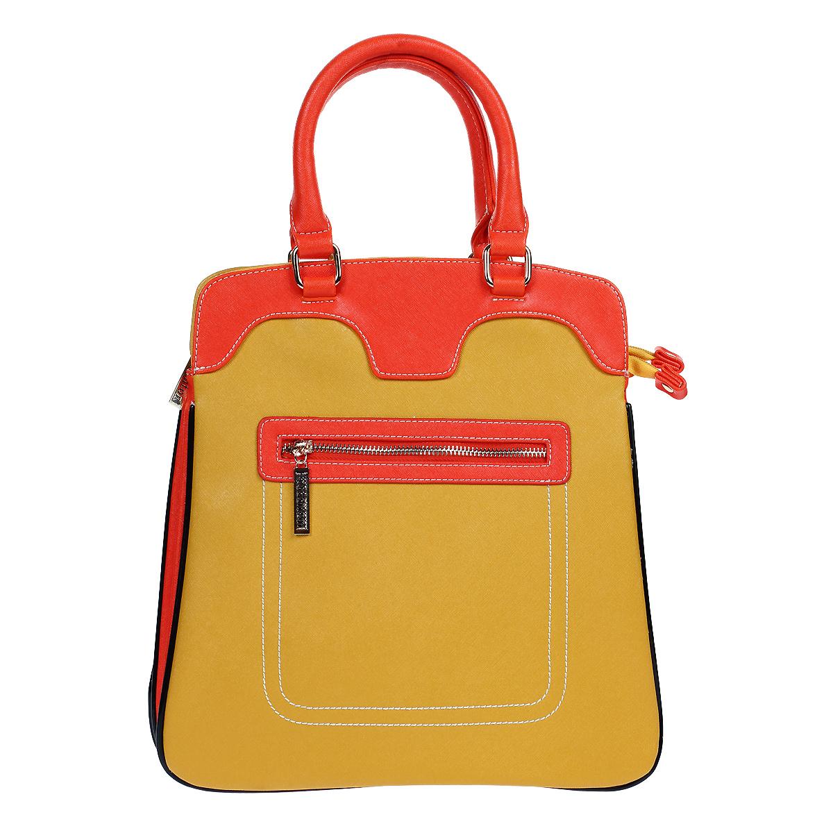 Сумка женская Leighton, цвет: желтый, оранжевый. 560353-3769560353-3769/19/3769/18/81Оригинальная женская сумка Leighton выполнена из искусственной кожи и оформлена декоративной отстрочкой. Сумка с удобными ручками закрывается на застежку-молнию. Внутри - два отделения, разделенные средником на молнии, вшитый карман на молнии, два нашивных кармашка для мелочей и мобильного телефона. На внешней стороне сумки расположен дополнительный карман на молнии. К сумке прилагается чехол для хранения и съемный плечевой регулируемый ремень. Сумка - это стильный аксессуар, который подчеркнет вашу изысканность и индивидуальность и сделает ваш образ завершенным. Женская сумочка Leighton - это воплощение элегантности и шика. Высококачественные материалы, чистота линий, как выбор стиля, идут об руку с модными тенденциями. Обладательницей данной коллекции может быть только сильная и независимая женщина, бросающая вызов обыденности.