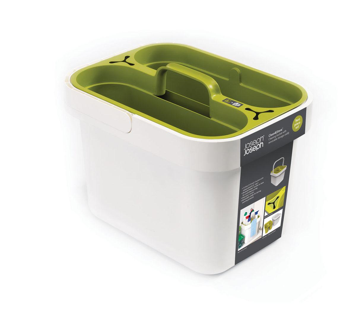 Контейнер хозяйственный Clean&Store, цвет: белый, зеленый. 8502985029Хозяйственный контейнер Clean&Store выполненный из пластика, предназначен для надежного хранения. Контейнер оснащен съемным бокcом, для удобного мытья и ручкой для переноса с одного места в другое. Можно мыть в посудомоечной машине.