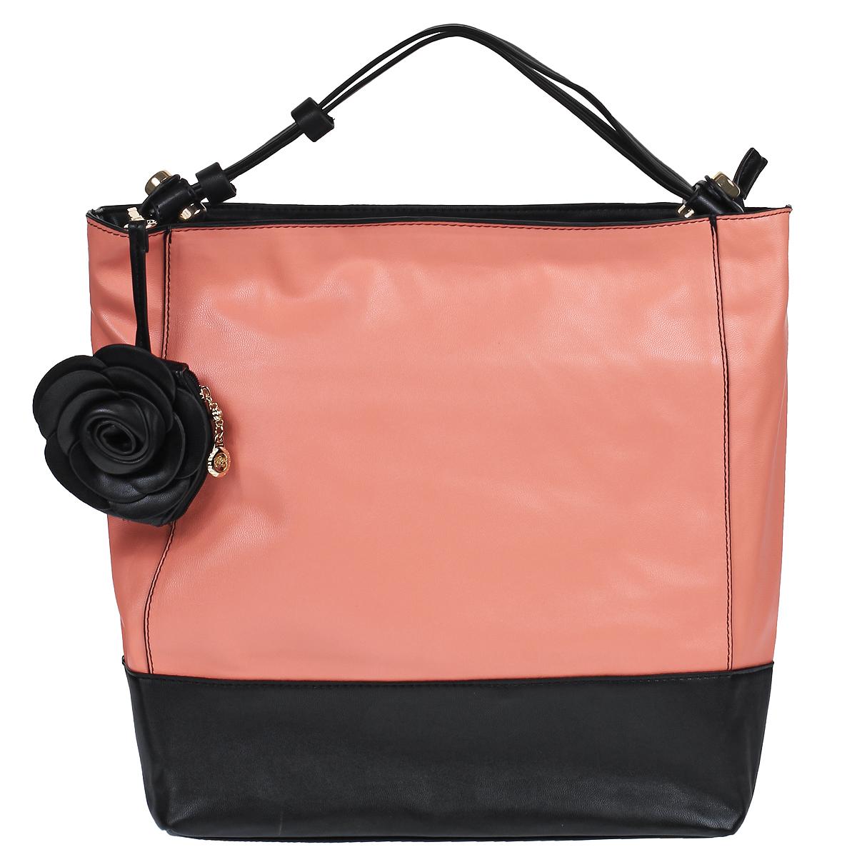 Сумка женская Leighton, цвет: розовый, черный. 76553-58776553-587/822/587/101 розСтильная сумка Leighton выполнена из искусственной кожи с гладкой поверхностью. Сумка имеет одно вместительное отделение, закрывающееся на застежку-молнию. Внутри - смежный карман на молнии, вшитый карман на молнии и два накладных кармана для мелочей. С внешней стороны на задней стенке расположен вшитый карман на молнии. Сумка оснащена ручкой для переноски. В комплекте чехол для хранения и миниатюрный кошелек на молнии, выполненный в виде цветка. Яркая сумочка Leighton подчеркнет вашу индивидуальность и сделает образ завершенным.