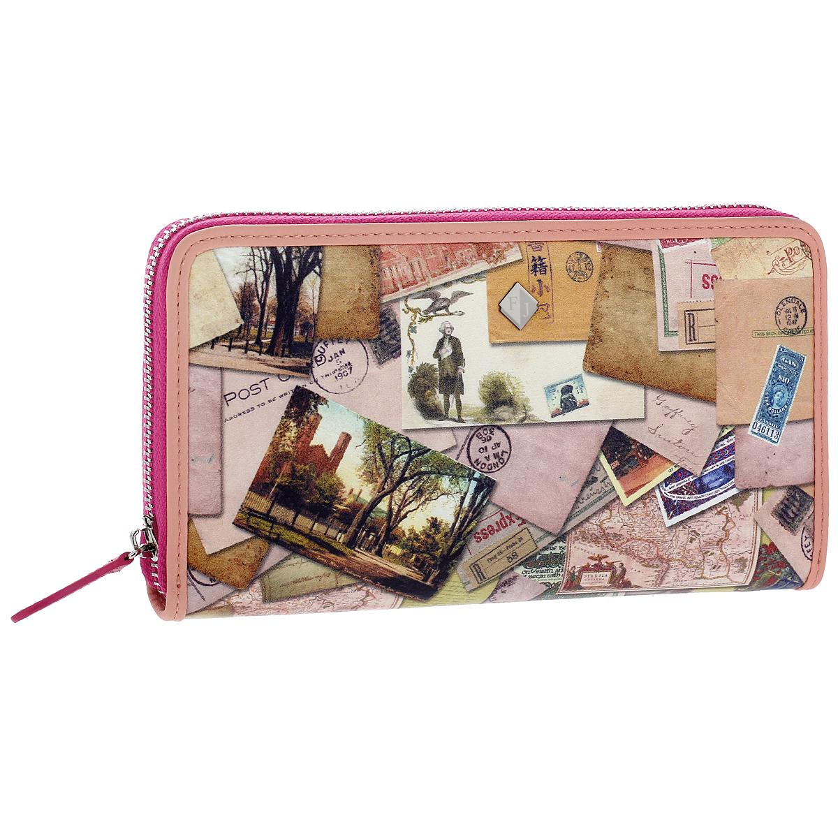 Кошелек женский Flioraj Postcard, цвет: бежевый, розовый. 1288-141831288-14183/PostcardМодный кошелек Flioraj от итальянского бренда выполнен из натуральной кожи высокого качества и декорирован стильным фотопринтом. Модель закрывается на застежку-молнию. Внутри - три отделения для купюр, одно отделение на застежке-молнии, три плоских кармана и двенадцать отделений для визиток и пластиковых карт. Классический дизайн и стильный декор в сочетании с удобством и вместительностью делают этот аксессуар незаменимым.