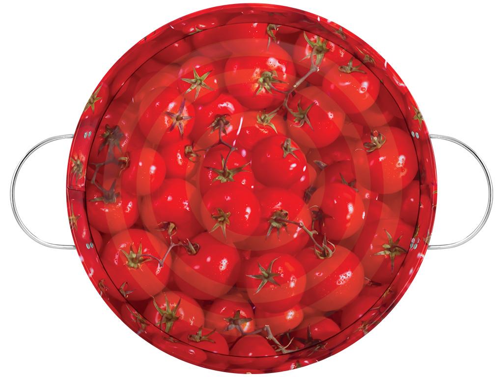 Поднос садовый Помидоры, цвет: красный, диаметр 34 см1201-2Поднос садовый Помидоры круглой формы, выполненный из стали, сочетает в себе изысканный дизайн с максимальной функциональностью. Дно оформлено красочным изображением помидоров. Поднос отлично подойдет для сбора ягод, овощей и фруктов. Благодаря двум ручкам, его с легкостью можно переносить с места на место.