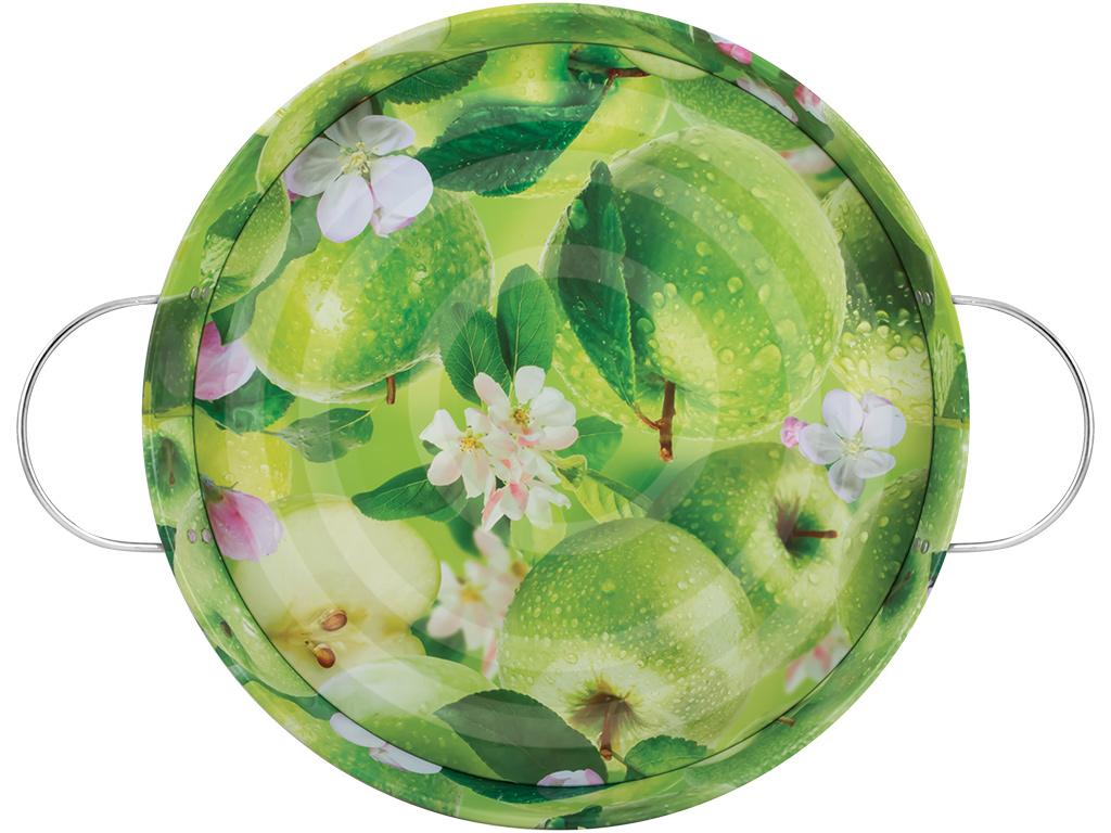 Поднос садовый Яблоки, цвет: зеленый, диаметр 34 см1201-6Поднос садовый Яблоки круглой формы, выполненный из стали, сочетает в себе изысканный дизайн с максимальной функциональностью. Дно оформлено красочным изображением зеленых яблок. Поднос отлично подойдет для сбора ягод, овощей и фруктов. Благодаря двум ручкам, его с легкостью можно переносить с места на место.