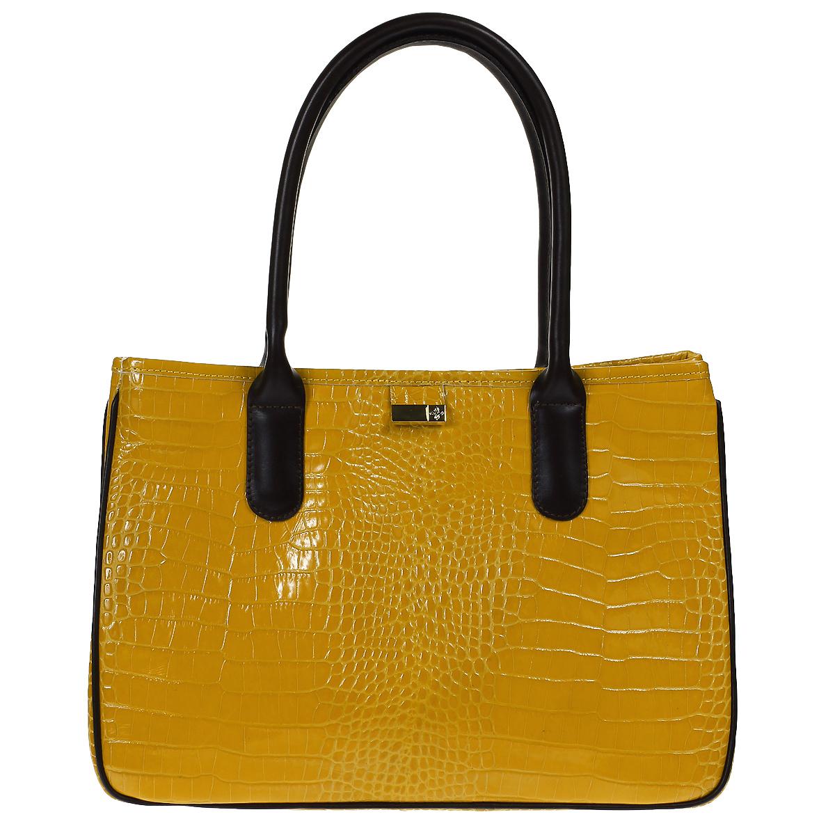 Сумка женская Dimanche Кристи, цвет: желтый. 443/39443/39Стильная женская сумка Dimanche Кристи выполнена из натуральной высококачественной кожи. Сумка имеет одно отделение, разделенное средником на молнии, и закрывается на застежку-молнию. Внутри - два накладных кармашка и карман на молнии. На задней стенке имеется дополнительный карман на молнии. По бокам сумка имеет кнопки, которые позволяют изменять ее форму. Сумка оснащена двумя удобными ручками. Фурнитура - серебристого цвета. Сумка упакована в фирменный текстильный мешок. Сумка женская Dimanche Кристи подчеркнет вашу яркую индивидуальность и сделает образ завершенным.
