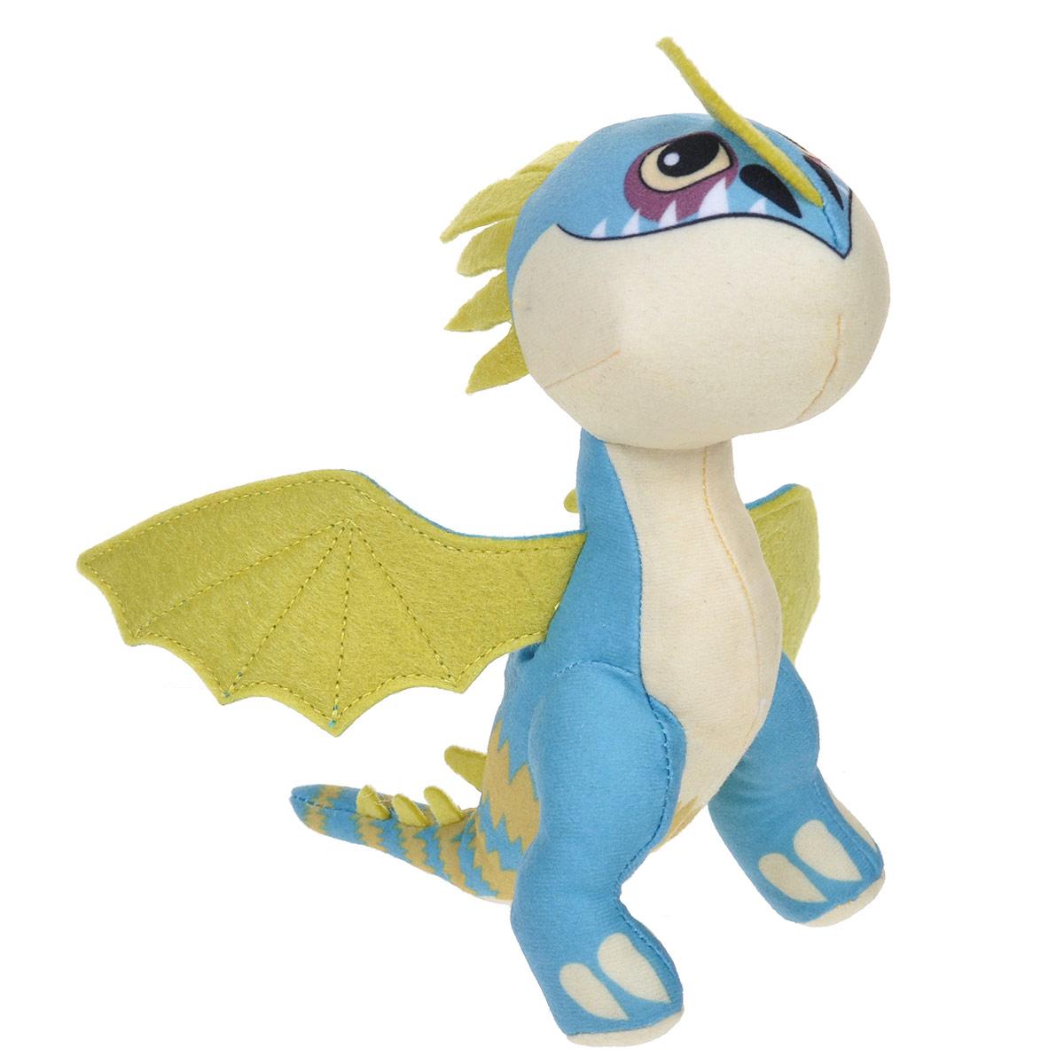 Мягкая игрушка Dragons Змеевик, цвет: голубой, желтый, 18 см66572Мягкая плюшевая игрушка Dragons Змеевик, вызовет улыбку у каждого, кто ее увидит. Игрушка выполнена из приятного на ощупь текстильного материала в виде дракона - точной копии дракона из мультфильма Как приручить дракона 2. У игрушки большие глазки и большие крылья. Эта забавная игрушка принесет радость и подарит своему обладателю мгновения приятных воспоминаний. Такая игрушка станет отличным подарком вашему ребенку!