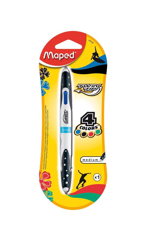 """Ручка шариковая Maped """"Твин Тип"""", 4 цвета стержня: синий, черный, красный, зеленый"""
