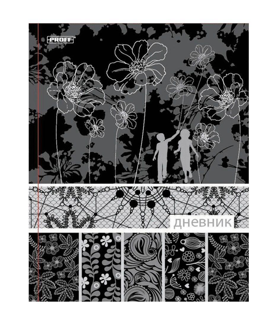 Дневник школьный Proff Black&white, тонир. офсет/твердая обложка из художеств. бумаги/тиснение фольгойPF ROZ A5 A-R RUS