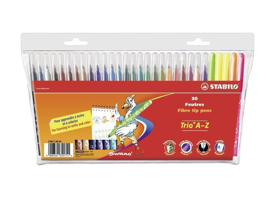 Фломастеры Stabilo Trio A-Z, 30 цветов378/1-30-01Трехгранная форма фломастера предотвращает усталость детской руки при рисовании и позволяет привить ребенку навык правильно держать пишущий инструмент. Фломастеры рисуют яркими насыщенными цветами. Чернила на водной основе не имеют запаха и легко отстирываются водой. Фломастеры соответствуют всем требованиям безопасности, имеют вентилируемый колпачок и не токсичны. Наборы 30 цветов на любой вкус! Тонкий наконечник, толщина линии 0,7 мм.