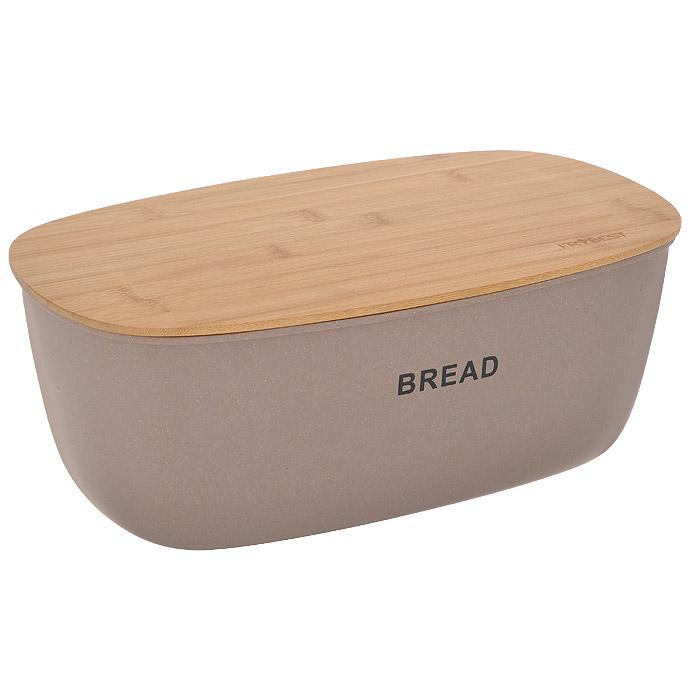 """Хлебница Frybest """"Bamboo"""", с разделочной доской, цвет: коричневый BM-01-1"""