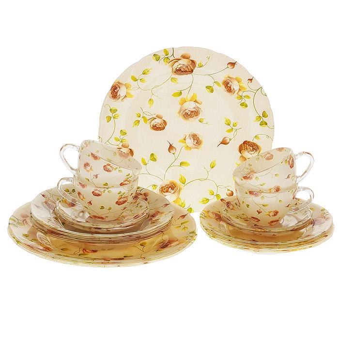 Набор посуды Розы, 20 предметов13618Набор посуды Розы состоит из 4 суповых тарелок, 4 обеденных тарелок, 4 десертных тарелок, 4 блюдец, 4 чашек. Изделия выполнены из высококачественного стекла и оформлены нежным цветочным рисунком. Столовый набор эффектно украсит стол к обеду, а также прекрасно подойдет для торжественных случаев.