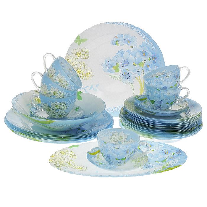 Набор посуды Камея, 32 предмета10056Набор посуды Камея состоит из 6 суповых тарелок, 6 обеденных тарелок, 6 десертных тарелок, 6 блюдец, 6 чашек, салатника, овального блюда. Изделия выполнены из высококачественного стекла и оформлены нежно-голубым цветочным рисунком. Столовый набор эффектно украсит стол к обеду, а также прекрасно подойдет для торжественных случаев.