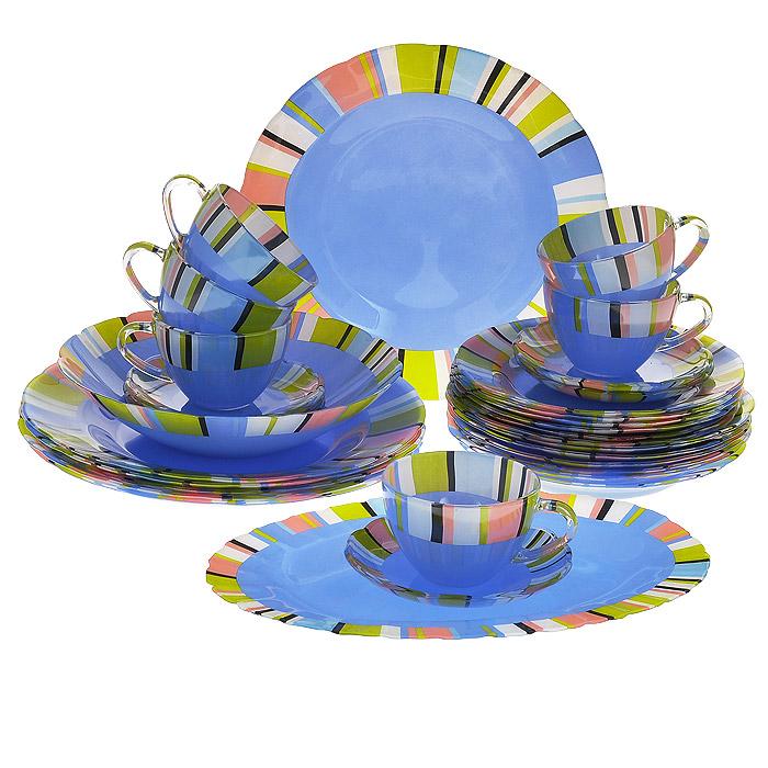 Набор посуды Орнамент, 32 предмета14049Набор посуды Орнамент состоит из 6 суповых тарелок, 6 обеденных тарелок, 6 десертных тарелок, 6 блюдец, 6 чашек, салатника, овального блюда. Изделия выполнены из высококачественного стекла синего цвета и оформлены разноцветными полосками. Столовый набор эффектно украсит стол к обеду, а также прекрасно подойдет для торжественных случаев.