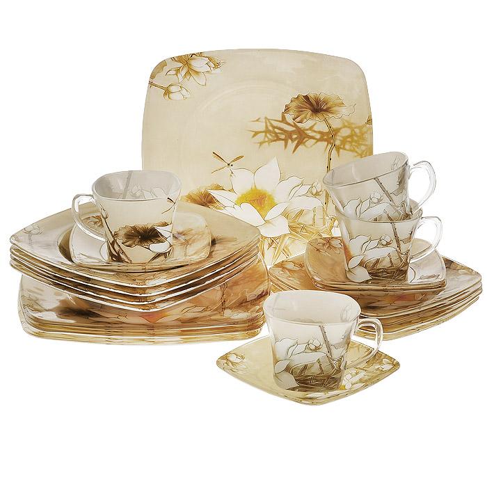 Набор посуды Лилия, 20 предметов13650Набор посуды состоит из 4 суповых тарелок, 4 обеденных тарелок, 4 десертных тарелок, 4 блюдец, 4 чашек. Изделия выполнены из высококачественного стекла и оформлены изображением кувшинок. Столовый набор эффектно украсит стол к обеду, а также прекрасно подойдет для торжественных случаев.