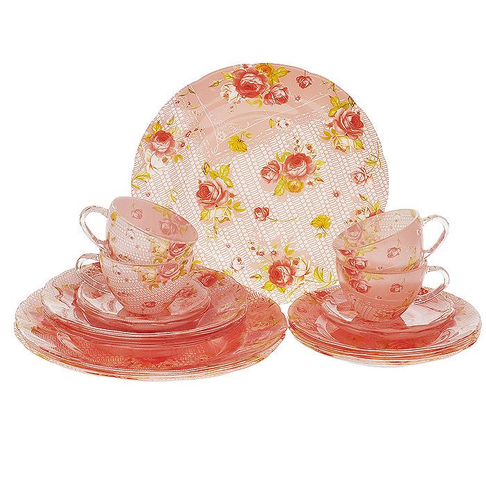 Набор посуды Розочки, 20 предметов10003RНабор посуды Розочки состоит из 4 суповых тарелок, 4 обеденных тарелок, 4 десертных тарелок, 4 блюдец, 4 чашек. Изделия выполнены из высококачественного стекла и оформлены ярким цветочным рисунком. Столовый набор эффектно украсит стол к обеду, а также прекрасно подойдет для торжественных случаев.