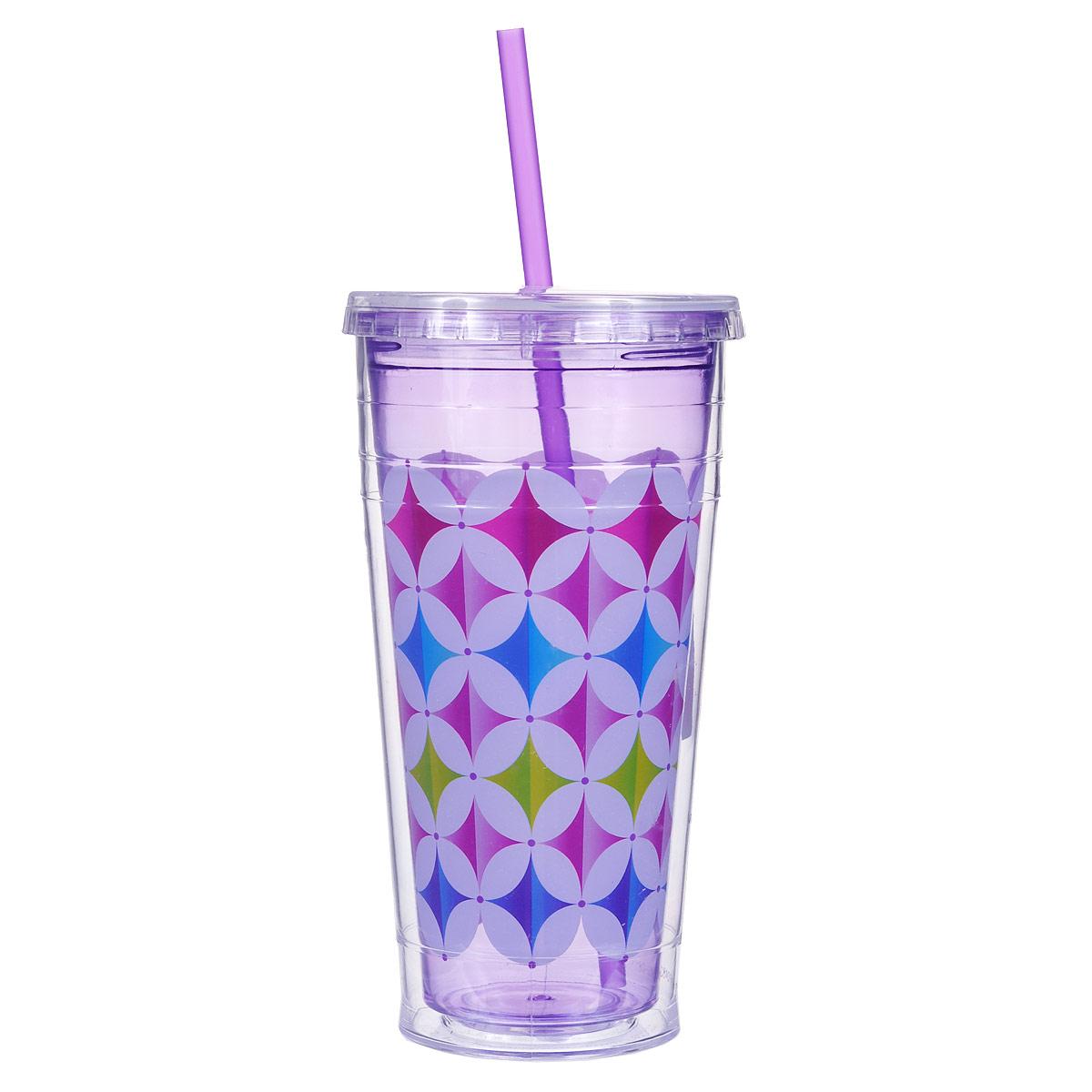 Кружка дорожная Cool Gear Eco 2 Go. Графика для холодных напитков, цвет: фиолетовый, 720 мл. 14291429Дорожная кружка Cool Gear Eco 2 Go. Графика изготовлена из высококачественного BPA free пластика, безопасного для здоровья. Яркая креативная кружка выполнена в виде стаканчика. Закручивающаяся крышка снабжена отверстием для трубочки (входит в комплект). Кружка предназначена для холодных напитков и идеально подходит для того, чтобы взять с собой в дорогу воду, морс, смузи или шейк. Двойные стенки дольше сохраняют напиток холодным. Эргономичная форма обеспечивает дополнительный комфорт и помогает надежно фиксировать кружку в ладони. Такая кружка - отличное решение для прогулки, пикника или автомобильной поездки. Оптимальный объем позволит взять с собой большую порцию напитка. Сохраните напиток холодным даже в самый жаркий день. Не рекомендуется использовать в микроволновой печи и мыть в посудомоечной машине.