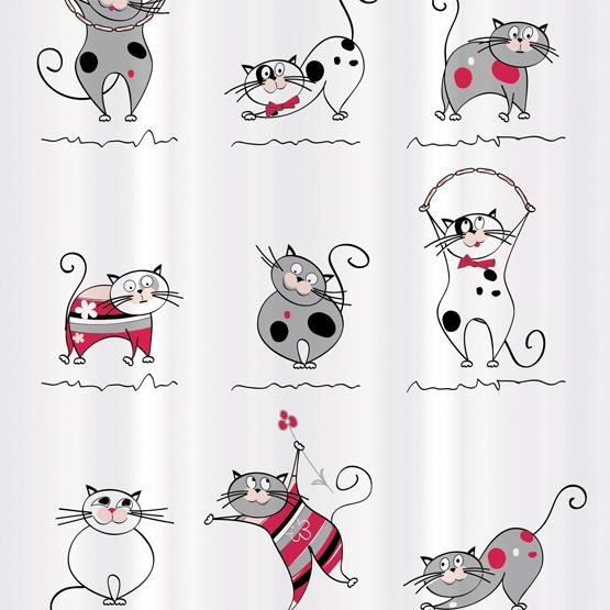 Штора для ванной комнаты Tatkraft Funny Cats, 180х180 см, полиэстер14664Текстильная штора для ванной Tatkraft Funny Cats, изготовленная из полиэстера, декорирована изображением забавных котов. Изделие имеет специальную водоотталкивающую пропитку и антигрибковое покрытие. Штора быстро сохнет, легко моется и обладает повышенной износостойкостью. В комплекте также имеется 12 пластиковых овальных колец. Штора оснащена магнитами-утяжелителями для лучшей фиксации. Мягкая и приятная на ощупь штора для ванной Tatkraft Funny Cats порадует вас своим ярким дизайном и добавит уюта в ванную комнату. Можно стирать в стиральной машине при температуре 40°С.