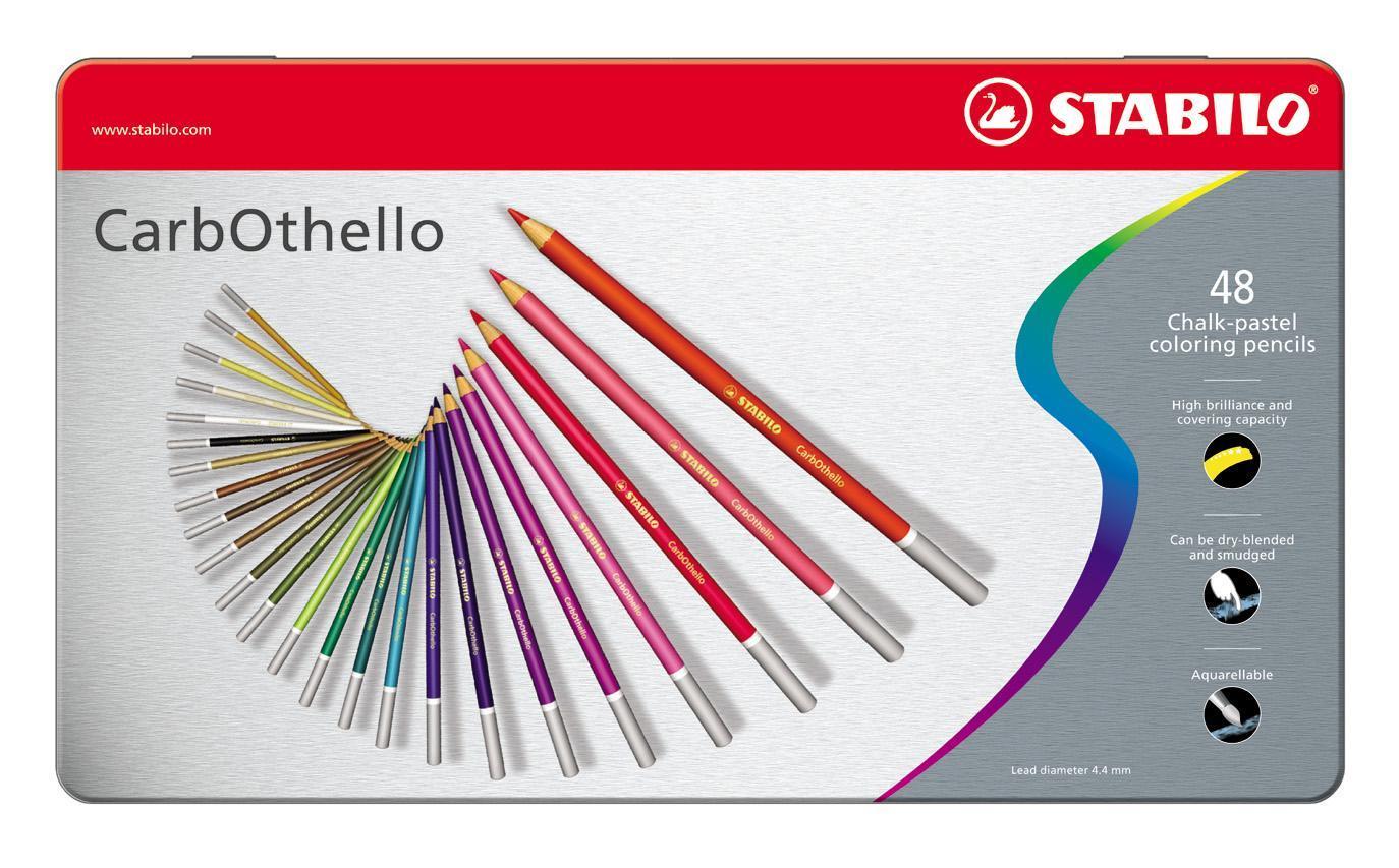 Набор цветных карандашей Stabilo CarbOthello, 48 цветов1448-6Цветная пастель в виде деревянного карандаша. Деревянная оболочка карандаша защищает хрупкую сердцевину - пастельный мелок, способный передать бесподобную свежесть и выразительность красок. Мягкий грифель позволяет рисовать даже на очень тонкой бумаге. Можно использовать как акварельные карандаши. Цветная пастель идеально подходит для смешивания цветов. Исключительная насыщенность цвета позволяет добиться великолепных результатов даже на темном фоне. Набор в металлической коробке.
