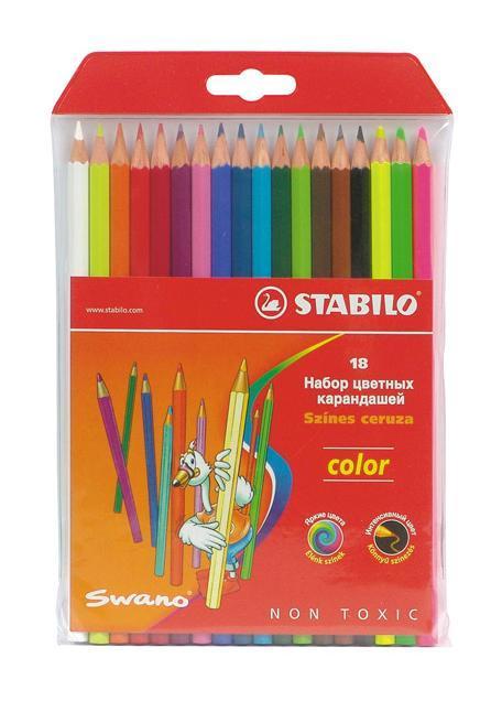 Набор цветных карандашей Stabilo Color, 18 цветов1218-77-01Цветные карандаши STABILO color шестигранной формы. Широкая гамма цветов, которые отлично смешиваются и позволяют создавать огромное количество оттенков. Насыщенные цвета имеют высокую светостойкость. Мягкий грифель легко рисует на бумаге, не царапая ее и не крошась. Карандаши не ломаются при рисовании и затачивании. В наборе 15 базовых цветов и 3 флуоресцентных цвета.
