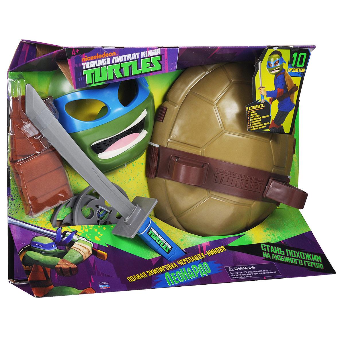 Игровой набор Turtles Боевое снаряжение Черепашки-Ниндзя: Леонардо, 12 предметов92080_92081Игровой набор Turtles Боевое снаряжение Черепашки-Ниндзя: Леонардо непременно понравится вашему ребенку. Он включает в себя предметы боевого снаряжения Черепашки-Ниндзя Леонардо: маску, панцирь-щит, меч катана, 2 метательные звездочки, 2 налокотника, 2 наколенника, почетный значок, постер и секретное послание. Маска имеет прорези для глаз и держится на голове при помощи эластичных ремешков на липучке. Внутри маски находится специальная резиновая накладка по контуру глаз и носа. Щит выполнен из жесткого пластика и оснащен текстильными регулируемыми ремнями: с помощью липучки щит можно закрепить на поясе, с помощью пластиковых фиксаторов - на обоих плечах. Также щит снабжен двумя специальными универсальными держателями, которые подходят для любого оружия Черепашек-Ниндзя. С игровым набором Turtles Боевое снаряжение Черепашки-Ниндзя: Леонардо ваш ребенок без труда перевоплотиться в любимого героя. Порадуйте своего непоседу таким замечательным подарком!