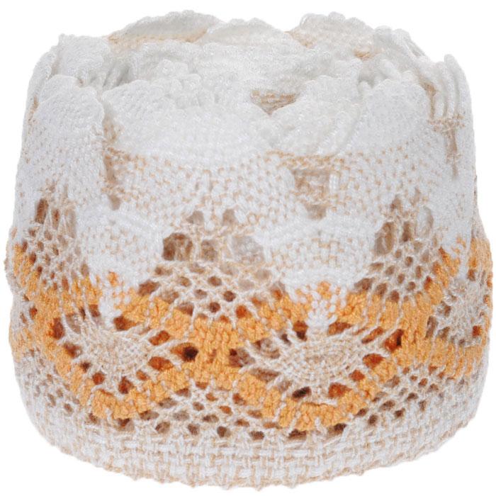 Тесьма вязаная Schaefer, ажурная, цвет: бежевый, оранжевый, 5 м х 9 см. 2110032321100323Ажурная вязаная тесьма Schaefer - имитация ручного вязания крючком. Она изготовлена из высококачественного полиакрила. Благодаря классическому дизайну тесьмы вы можете использовать ее и в одежде и текстильных изделиях для дома.