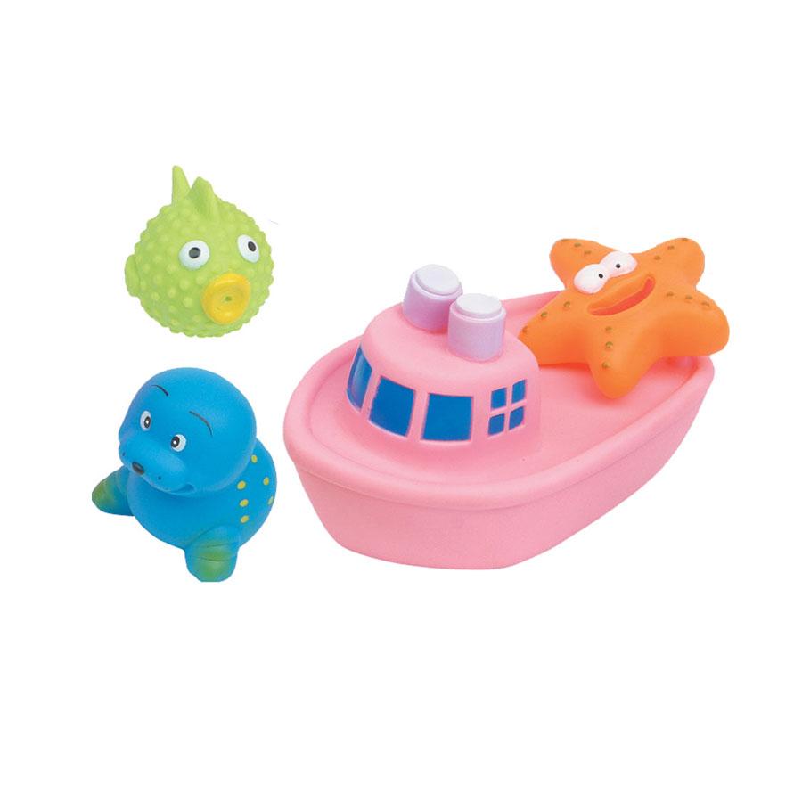 Набор игрушек для ванны Курносики Веселое путешествие, цвет: розовый, 4 шт25077рНабор игрушек для ванны Курносики Веселое путешествие непременно понравится вашему ребенку и превратит купание в веселую игру! В набор входят четыре ярких игрушки, выполненные из ПВХ, в виде кораблика и трех морских обитателей. Если сжать их во время купания в ванне, они начинают забавно брызгаться водой. Набор игрушек для ванны Курносики Веселое путешествие способствует развитию у ребенка воображения, цветового восприятия, тактильных ощущений и мелкой моторики рук. Оригинальный стиль и великолепное качество исполнения делают этот набор чудесным подарком к любому празднику, а жизнерадостные образы представят его в самом лучшем свете.