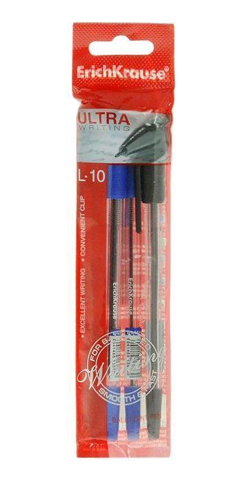 Набор шариковых ручек Erich Krause Ultra L-10, цвет: синий, черный, 4 штEK19612