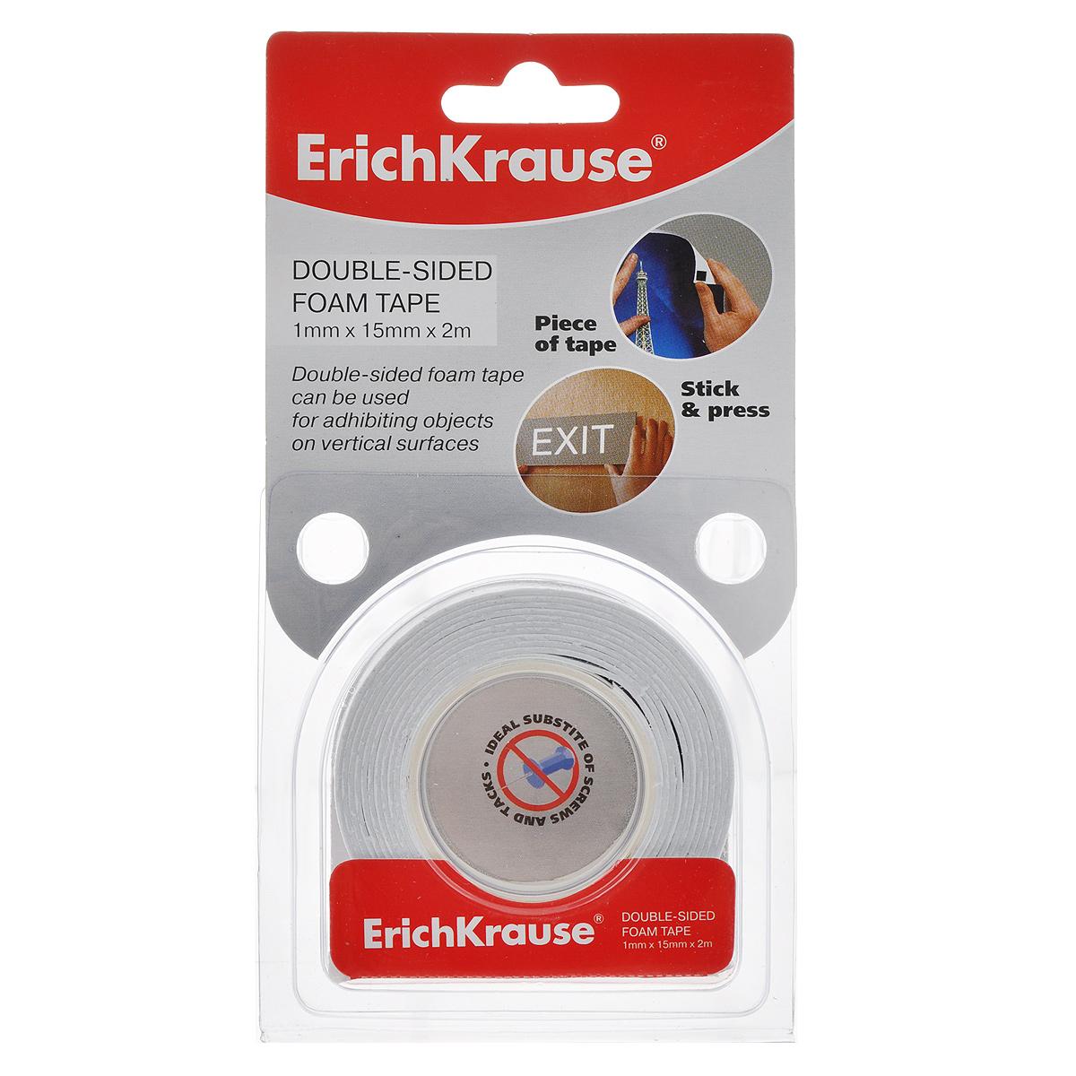 "Двусторонняя клейкая лента ""Erich Krause"", на пенной основе, 1 мм x 15 мм x 2 м"