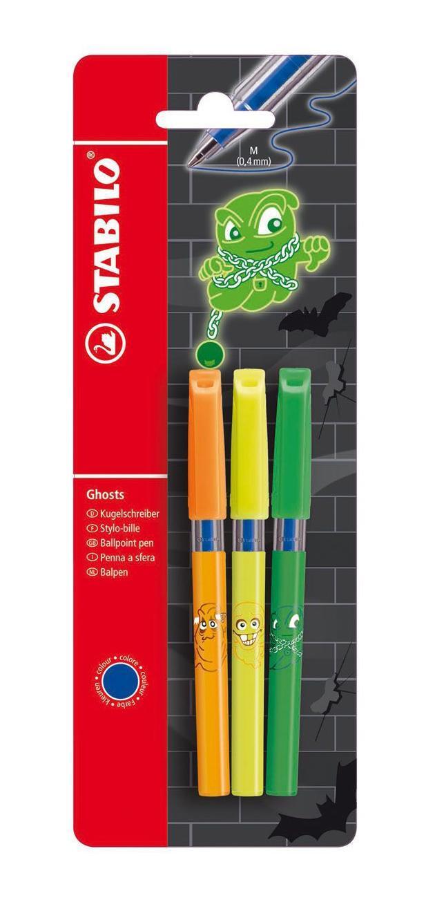 Набор шариковых ручек-мини Stabilo Ghost, 3 шт828MGBL341Набор Stabilo Ghost состоит из трех шариковых ручек в модном мини-формате. Такая ручка спрячется в любом, даже самом маленьком кармане или сумочке. Корпусы ручек имеют яркие кислотные цвета и три забавных дизайна с изображением привидений. Стержень сменный.