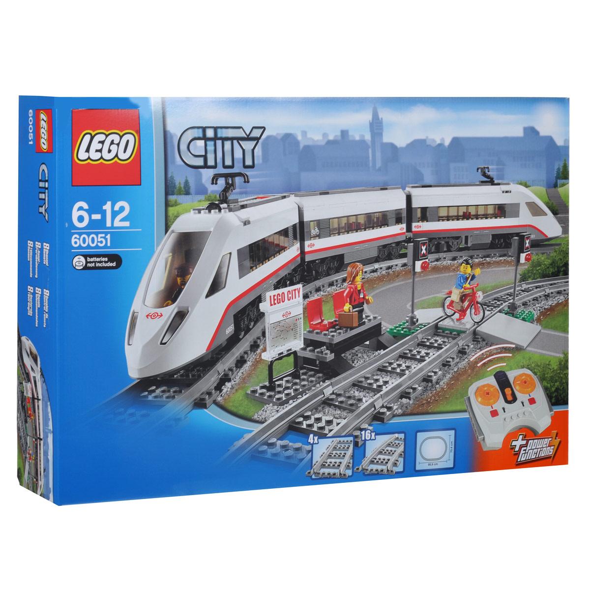 LEGO City Конструктор Скоростной пассажирский поезд 6005160051Соверши путешествие по городу на скоростном пассажирском поезде LEGO City! Используй 8-канальное, 7-скоростное инфракрасное дистанционное управление для передвижения по рельсам на максимальной скорости. Этот обтекаемый, суперэффективный поезд имеет современный дизайн и электрические контактные поверхности наверху. Подними крышу переднего вагона, чтобы посадить машиниста в кабину и открой пассажирские вагоны, чтобы получить доступ к креслам и столикам. Подожди поезд вместе с путешественником на путевой станции, аккуратно пересеки пути вместе с велосипедистом после того, как поезд уедет. В набор входят 3 минифигурки: машинист поезда, путешественник и велосипедист. Поезд работает от батареек. В комплекте есть пульт дистанционного управления. Необходимо докупить 9 батареек напряжением типа ААА (не входят в комплект). Конструктор - это один из самых увлекательнейших и веселых способов времяпрепровождения. Ребенок сможет часами играть с конструктором, придумывая различные...