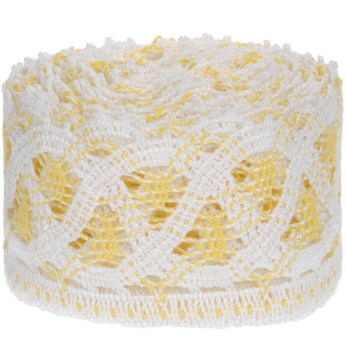 Тесьма вязаная Schaefer, ажурная, цвет: белый, желтый, 5 м х 9 см. 217040217040Ажурная вязаная тесьма Schaefer - имитация ручного вязания крючком. Она изготовлена из высококачественного полиакрила. Благодаря классическому дизайну тесьмы вы можете использовать ее и в одежде и текстильных изделиях для дома.