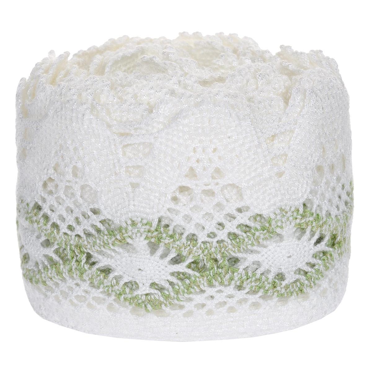 Тесьма вязаная Schaefer, ажурная, цвет: белый, зеленый, 5 м х 9 см. 2110032821100328Ажурная вязаная тесьма Schaefer - имитация ручного вязания крючком. Она изготовлена из высококачественного полиакрила. Благодаря классическому дизайну тесьмы вы можете использовать ее и в одежде и текстильных изделиях для дома.