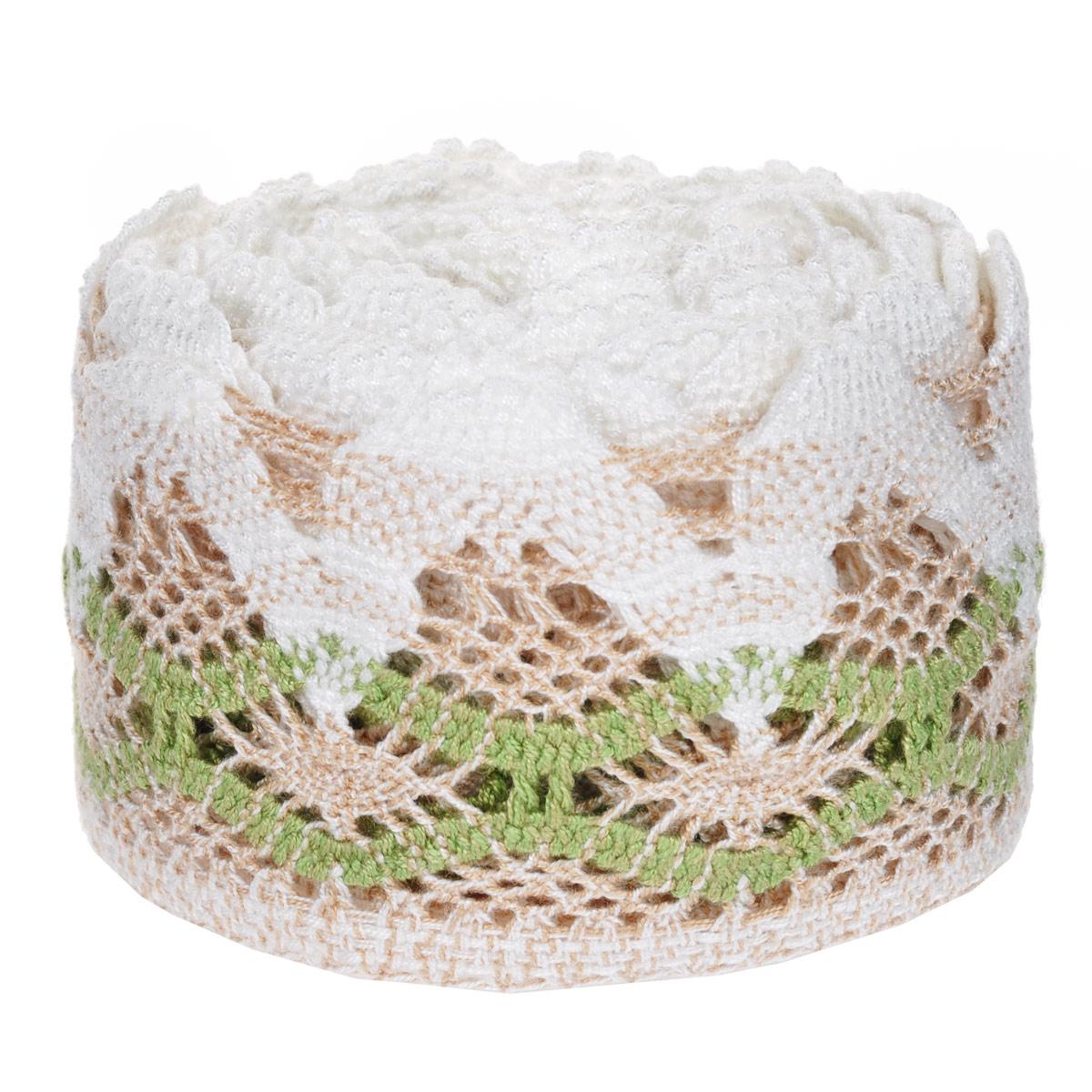 Тесьма вязаная Schaefer, ажурная, цвет: белый, коричневый, зеленый, 5 м х 9 см. 2110032721100327Ажурная вязаная тесьма Schaefer - имитация ручного вязания крючком. Она изготовлена из высококачественного полиакрила. Благодаря классическому дизайну тесьмы вы можете использовать ее и в одежде и текстильных изделиях для дома.