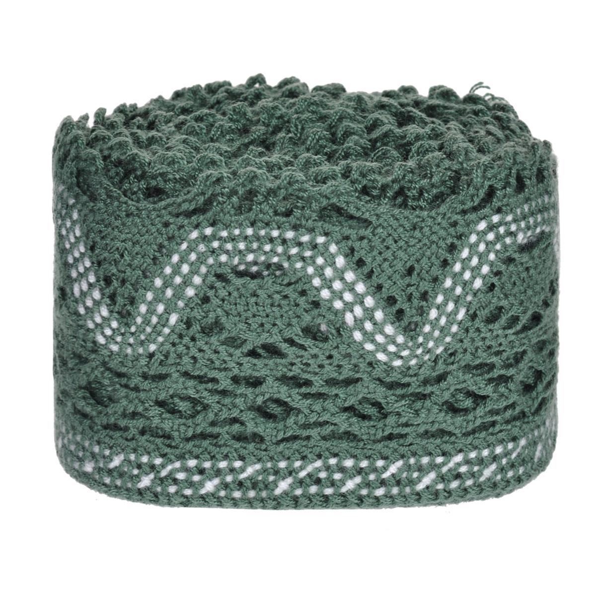 Тесьма вязаная Schaefer, ажурная, цвет: темно-зеленый, 5 м х 6,5 см. 2110441121104411Ажурная вязаная тесьма Schaefer - имитация ручного вязания крючком. Она изготовлена из высококачественного полиакрила. Благодаря классическому дизайну тесьмы вы можете использовать ее и в одежде и текстильных изделиях для дома.