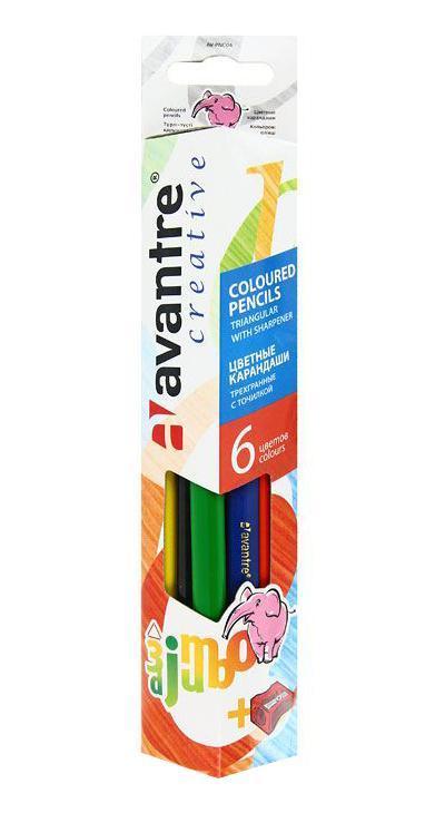 Цветные карандаши Jumbo, 6 цветовAV-PNC04Цветные карандаши Jumbo разработаны специально для самых маленьких художников. Благодаря утолщенному корпусу и эргономичной трехгранной форме карандаши особенно удобны для детской руки. Специальное покрытие и многослойная лакировка уменьшают скольжение, что делает процесс рисования максимально комфортным. Мягкий, ударопрочный грифель не ломается и не крошится при заточке, а его утолщенный диаметр позволяет получать более широкую и насыщенную линию.Набор Jumbo включает 6 карандашей ярких насыщенных цветов (синего, черного, желтого, оранжевого, красного, зеленого) и точилку. Все карандаши предварительно заточены.
