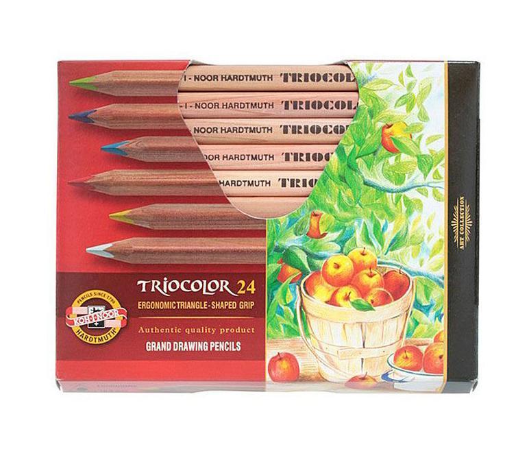 Цветные карандаши Triocolor, художественные, 24 цвета3154N/24 KSНабор художественных цветных карандашей TRICOLOR в утолщенном корпусе из натурального неокрашенного дерева. Благодаря Цветные художественные карандаши Triocolor непременно, понравятся вашему юному художнику. Набор включает в себя 24 ярких насыщенных цветных карандаша, которые идеально подходят для малышей. Эргономичный трехгранный утолщенный корпус изготовлен из натуральной неокрашенной древесины. Карандаши имеют прочный неломающийся грифель, не требующий сильного нажатия и легко затачиваются. Порадуйте своего ребенка таким восхитительным подарком!