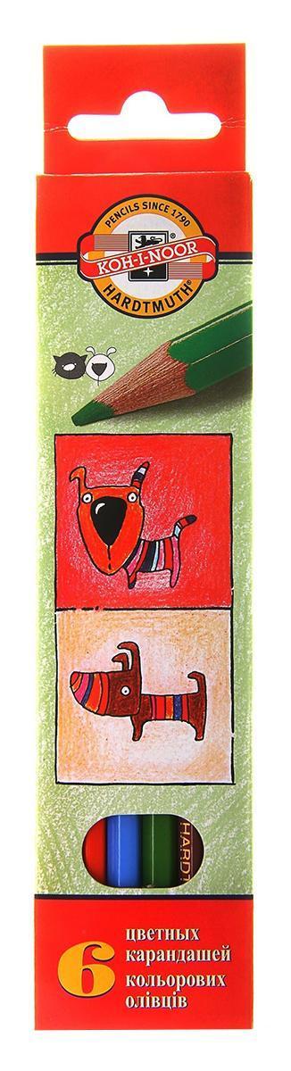 """Цветные карандаши """"Собаки и Кошки"""", 6 цветов, Koh-i-Noor"""