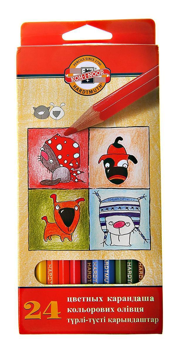 "Цветные карандаши ""Собаки и Кошки"", 24 цвета, Koh-i-Noor"