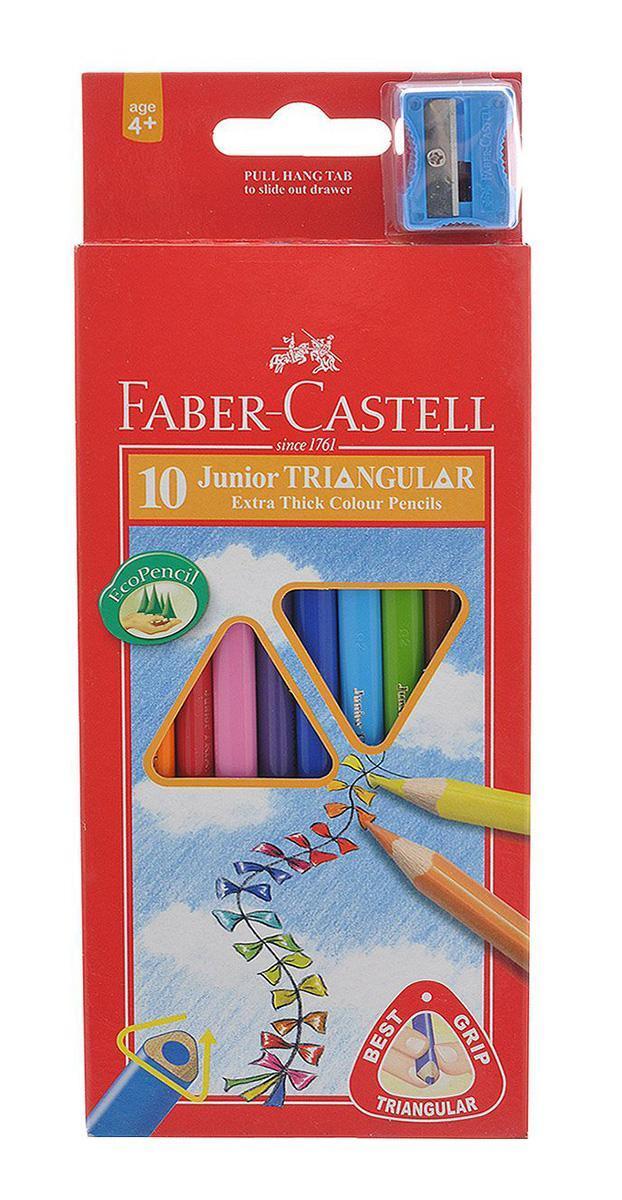 Цветные карандаши JUNIOR GRIP с точилкой, набор цветов, в картонной коробке, 10 шт.FC 116510Цветные трехгранные карандаши Faber-Castell Junior Triangular Grip откроют юным художникам новые горизонты для творчества, а также помогут отлично развить мелкую моторику рук, цветовое восприятие, фантазию и воображение. Благодаря трехгранной форме они особенно удобны для детской руки. Корпус изготовлен из качественной мягкой древесины для хорошего затачивания. Карандаши покрыты лаком на водной основе для защиты окружающей среды. Специальная SV технология вклеивания грифеля предотвращает его поломку при падении на пол. Корпус карандашей окрашен под цвет грифеля. Комплект включает 10 карандашей ярких насыщенных цветов и точилку. Карандаши уже заточены, поэтому все, что нужно для рисования - это взять чистый лист бумаги, и можно начинать! Вид карандаша: цветной. Особенности: С точилкой. Материал: дерево.