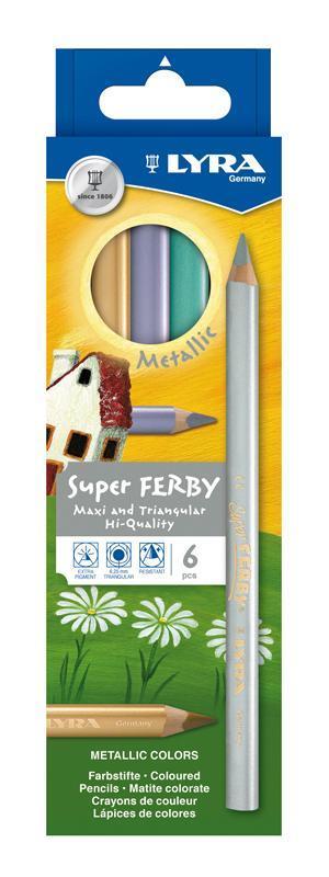Цветные карандаши Lyra Super Ferby Metallic, 6 цветовL3721062Цветные карандаши Lyra Super Ferby Duo Metallic непременно понравятся вашему юному художнику. Набор включает в себя 6 ярких цветных карандаша c эффектом металлик. Карандаши имеют эргономичную округло-треугольную форму, которая подходит для раннего развития ребенка. Карандаши изготовлены из натурального сертифицированного дерева, экологически чистые. Имеют ударопрочный неломающийся высокопигментный грифель, не требующий сильного нажатия. Легко затачиваются. Порадуйте своего ребенка таким восхитительным подарком! В комплекте: 6 цветных карандашей.